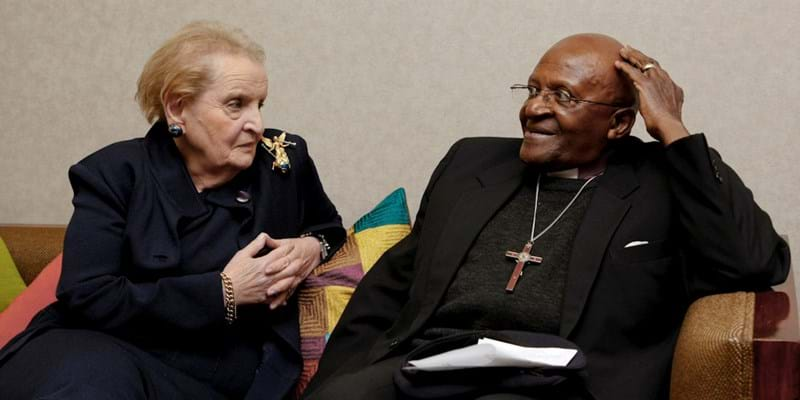 Madeline K. Albright & Archbishop Desmond Tutu in conversation. 2011. Photo Credit: Martin Dixon. (c) Ford Foundation