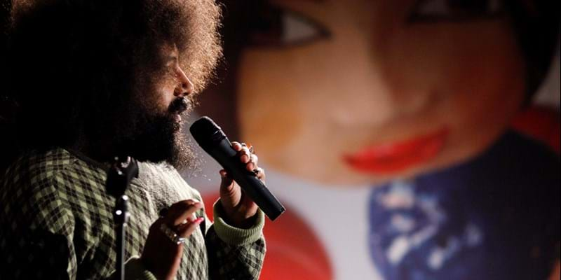 Reggie Watts speaking at Fresh Angle: A Ford Forum on the Arts. 2011. Photo credit: Martin Dixon (c) Ford Foundation