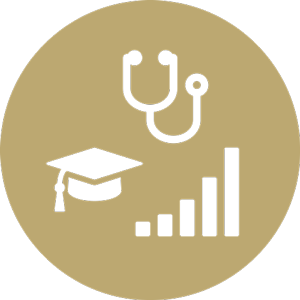 Benefits icon with stethoscope, graduation cap and bar chart