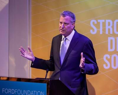 Keynote address from Mayor Bill de Blasio. 2015. This image is not available under 4.0 Creative Commons license.
