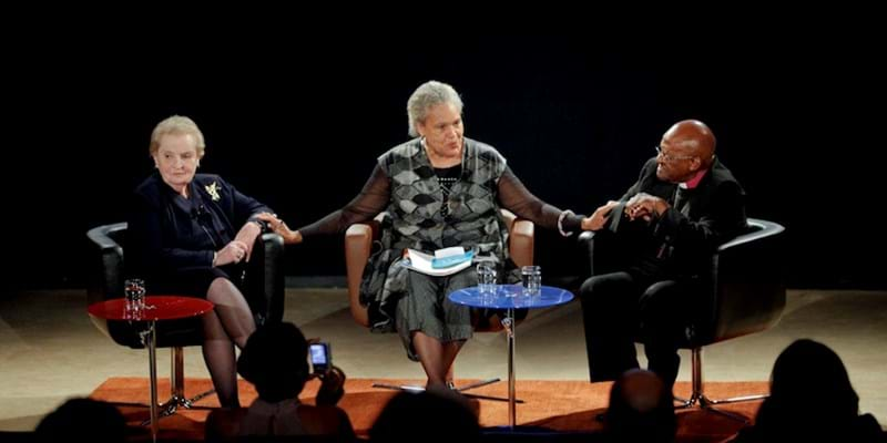 A conversation moderated by Charlayne Hunter-Gault with Madeleine K. Albright and Desmond Tutu. 2011. This image is not available under 4.0 Creative Commons license.