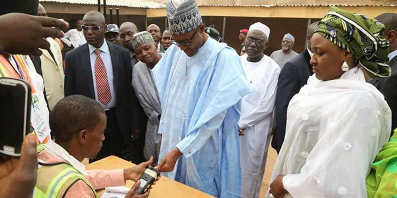 General Muhammadu Buhari completes accreditation for the governorship and house of assembly election. Photo Credit: Premium Times. This image is not available under the 4.0 Creative Commons license.