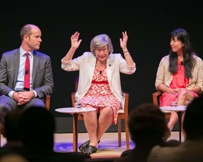 Panelists Michael Brune, Sister Simone Campbell and Ai-jen Poo. 2013. This image is not available under the 4.0 Creative Commons license.