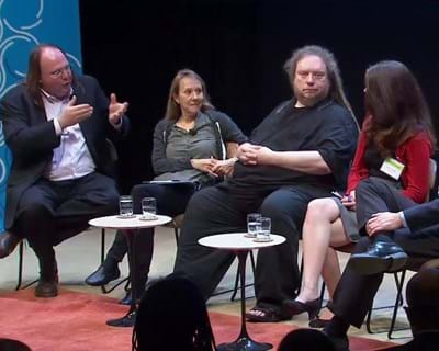 Ethan Zuckerman moderates a conversation about the transformative power of Big Data. 2012. This image is not available under the 4.0 Creative Commons license.