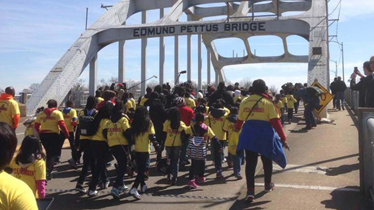 Marchers cross the Edmund Pettus Bridge. This image is available under the 4.0 Creative Commons license.