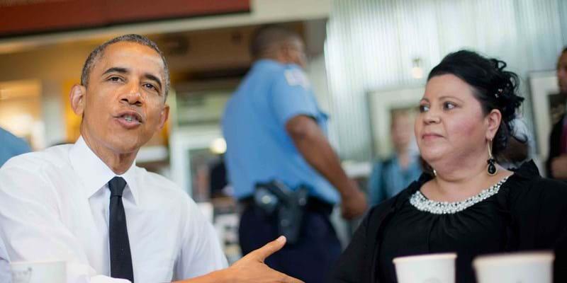 President Obama sits down with Shelby Ramirez. 2014, Photo Credit & (c) AP