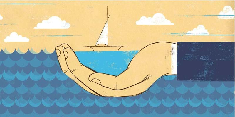 Evocative illustration of hand cradling boat. (c) Edel Rodriguez