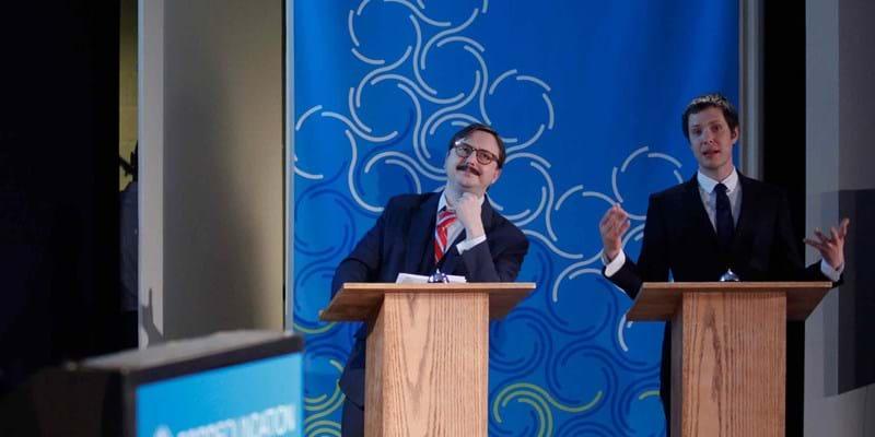 The Great Debaters: Ira Glass, John Hodgman and Damian Kulash. 2011. Photo Credit: Martin Dixon (c) Ford Foundation