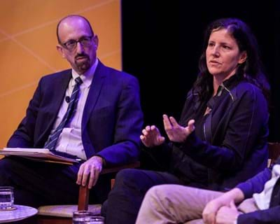 Laura Poitras and Ben Wizner discuss Poitras' new film CitizenFour about Edward Snowden. 2015. This image is not available under 4.0 Creative Commons license.