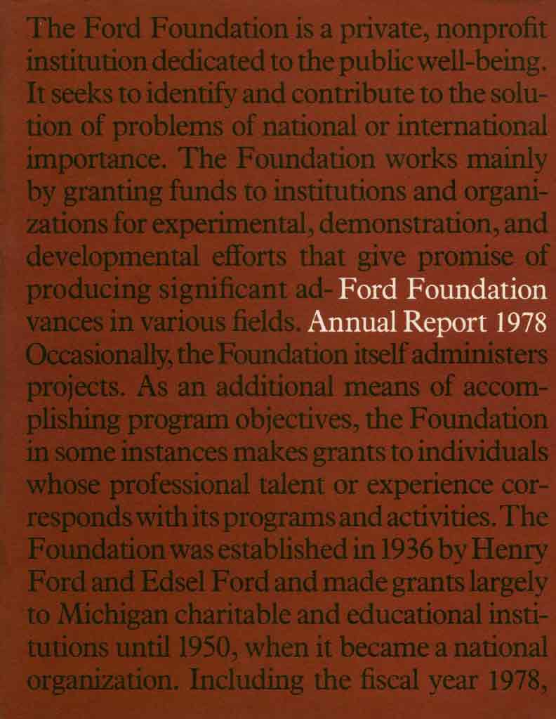 FF Annual Report 1978