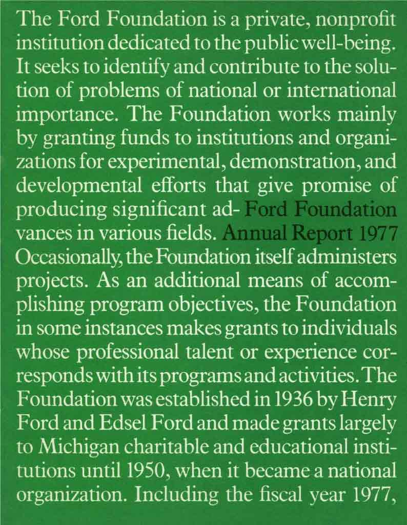 FF Annual Report 1977