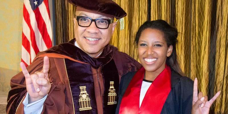 Darren Walker with University of Texas at Austin graduate. 2015. Photo Credit: Marsha Miller. (c) University of Texas at Austin