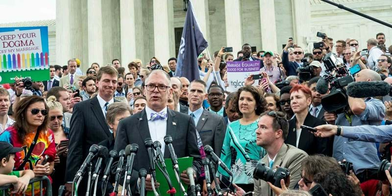 Jim Obergefell speaks to the media in front of the United States Supreme Court. Washington DC, June 26, 2015. Photo Credit: Pete Marovich © Corbis