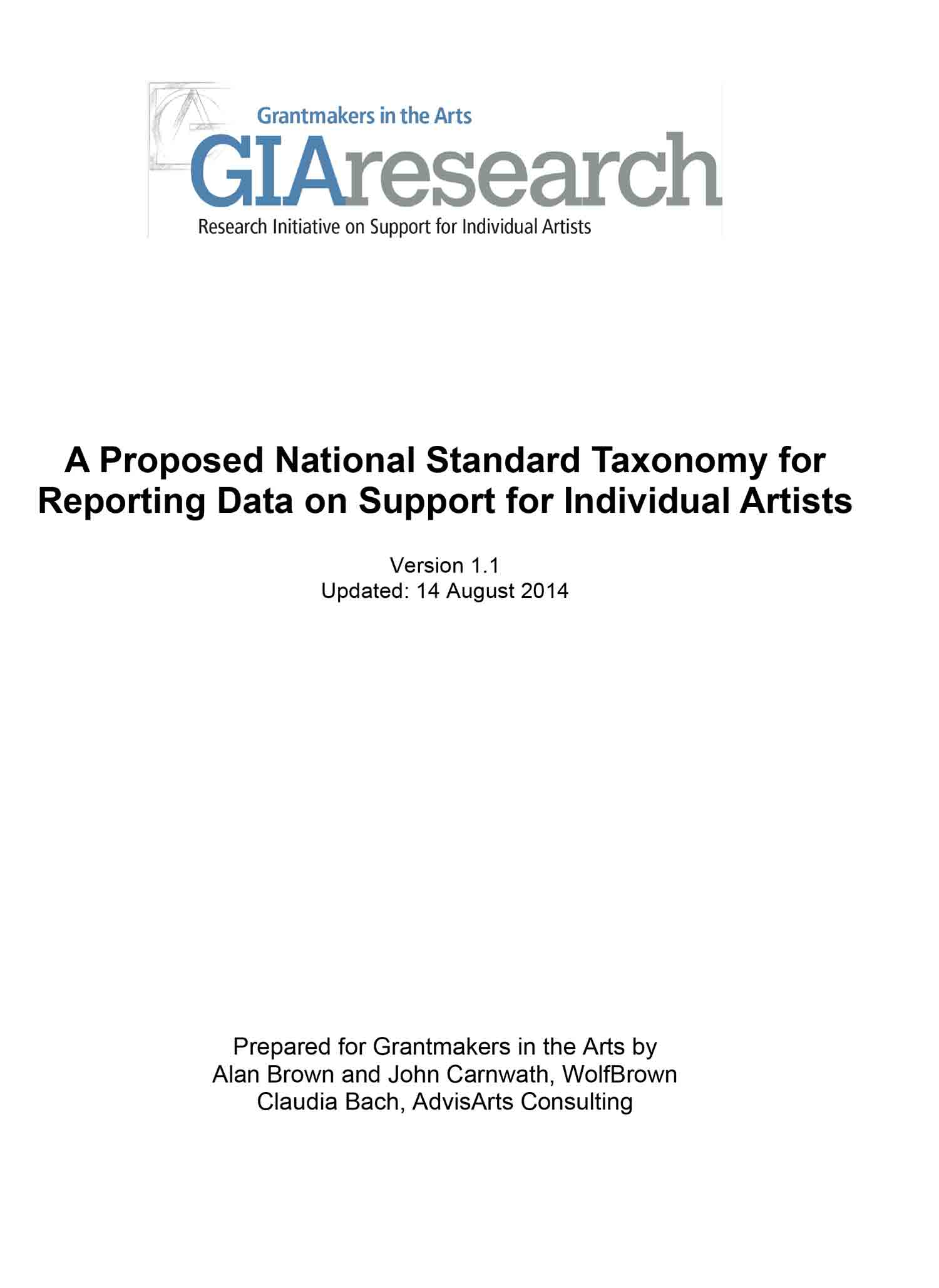 A Proposed National Standard Taxonomy for Reporting Data on Support for Individual Artists