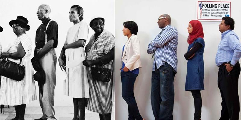 Past and present--Photo montage of  Americans waiting on line to vote.  Photo Credit & ©: Flip Schulke/CORBIS and Hill Street Studios/Blend Images/Corbis