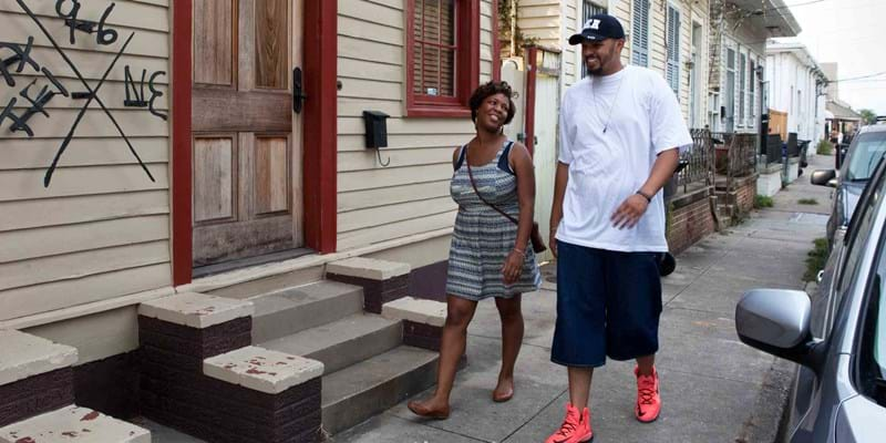 Winins and Hallershorn are walking in the Bywater district just up stream from the Ninth Ward. New Orleans, LA. July 19, 2015. Photo Credit and ©: Corbis & Philip Gould