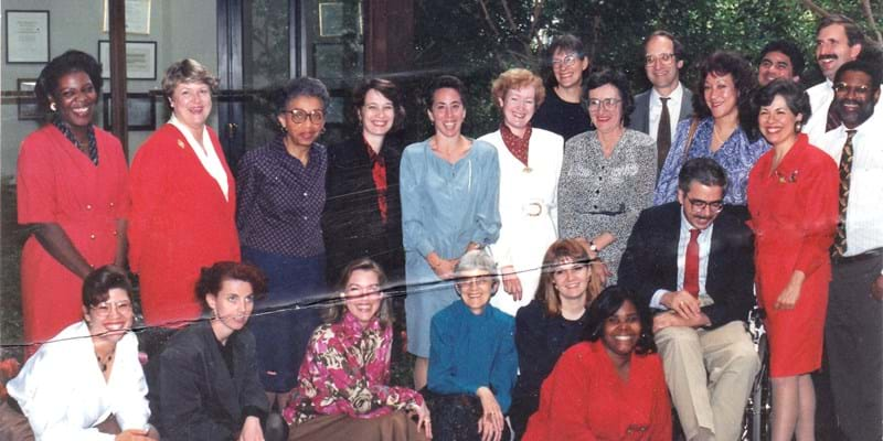 Lynn Walker Huntley (top row, second from the right, in blue shirt) with Ford Foundation colleagues in 1990. This image is not available under the 4.0 Creative Commons license.