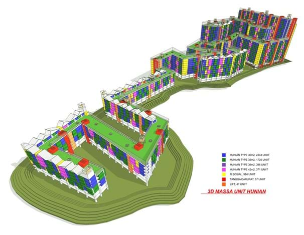 Indonesia Housing 3D Housing design for Kampung Pulo. Jakarta.