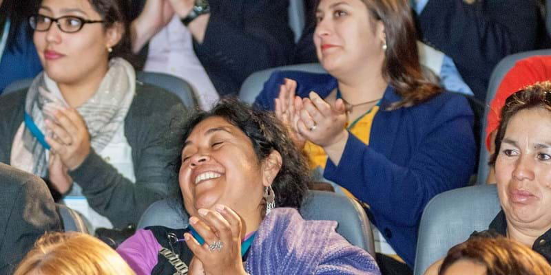 Enthusiastic audience reaction to discussion. Diego Portales University, Chile. 2015. Photo Credit: Ford Foundation