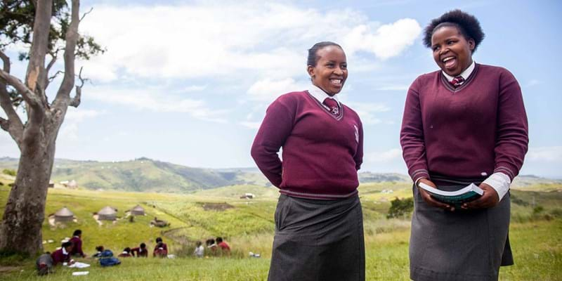 School girls studying outdoors. South Africa. 2015. Photo Credit: ©Yoni Brook/Ford Foundation