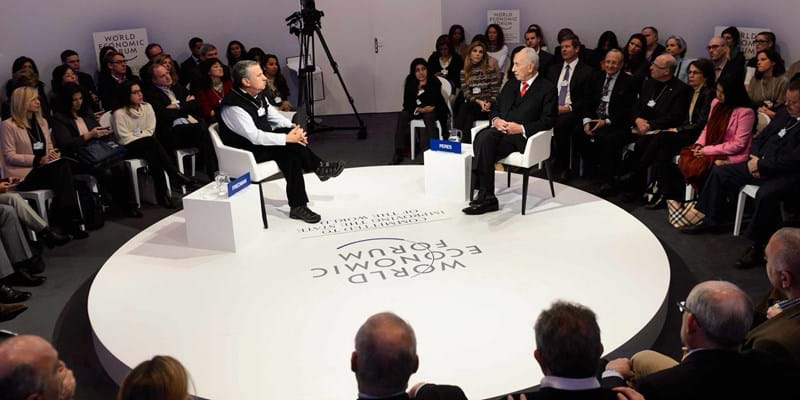 Former Israeli president Shimon Peres speaks during a panel session of the 45th Annual Meeting of the World Economic Forum. Davos, Switzerland. 2015. Photo credit: © Laurent Gillieron/Corbis