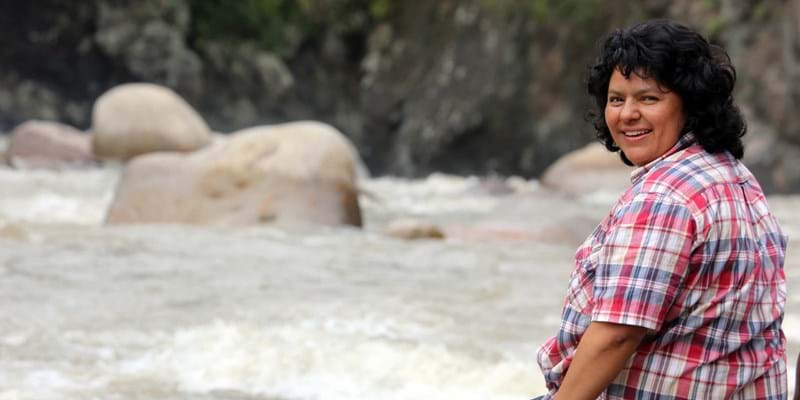 Berta Cáceres on the banks of the Gualcarque River in the Rio Blanco region of western Honduras. Photo Credit: Goldman Environmental Prize