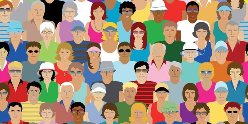 Illustration of diverse crowd of people.