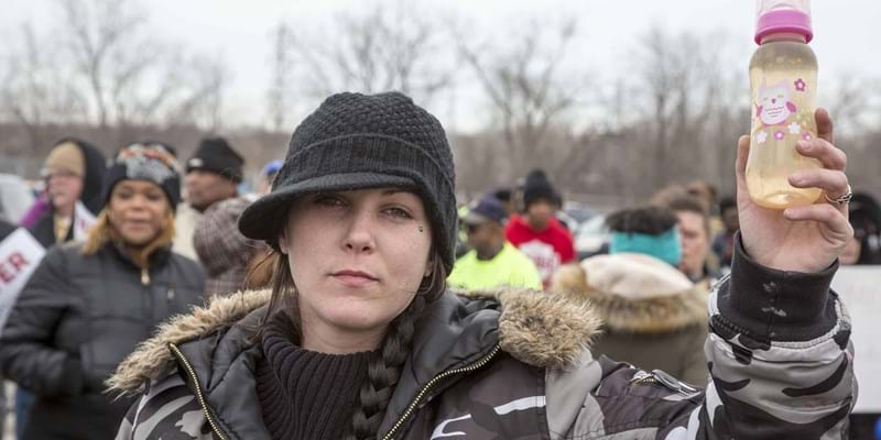 Residents marched to the Flint water treatment plant to demand the rebuilding of the city's water infrastructure. Flint, Michigan. 2016. Photo credit: ZUMAPRESS.com/Newscom