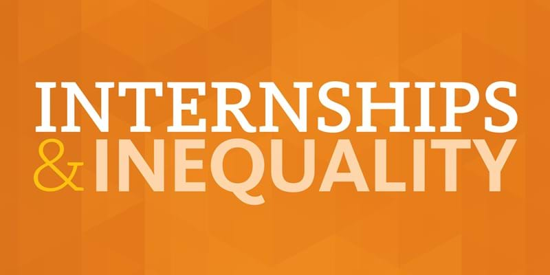 """Internships & Inequality"" blog series typographic image"