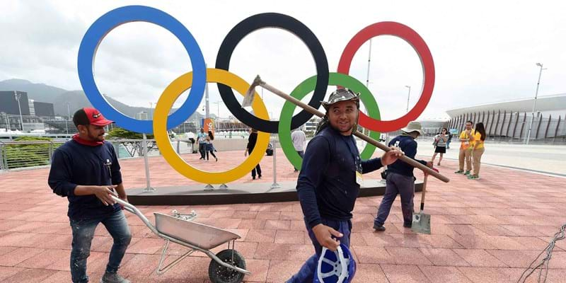 Final preparations are made outside sporting venues at the Rio Olympic Games. Brazil. 2016. Photo credit: EPA/Newscom