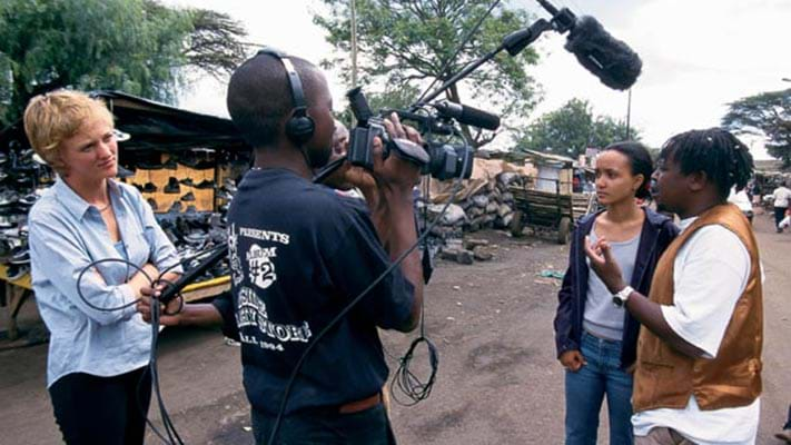Artists making a video for Go Down Arts Center in Kenya. 2004. Photo Credit: © Ford Foundation
