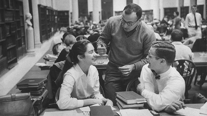 Students conversing in college library. 1953. Photo Credit: © Ford Foundation