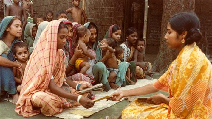 Women beneficiaries of Grameen Bank microcredit conducting business. 1982. Photo Credit: © Ford Foundation