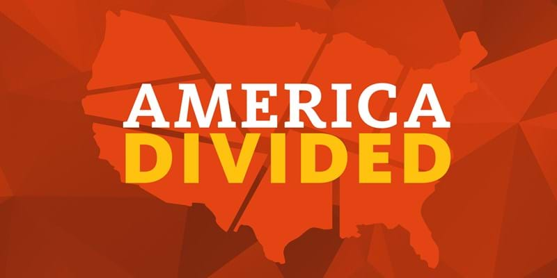 America Divided (Image of fractured United States)
