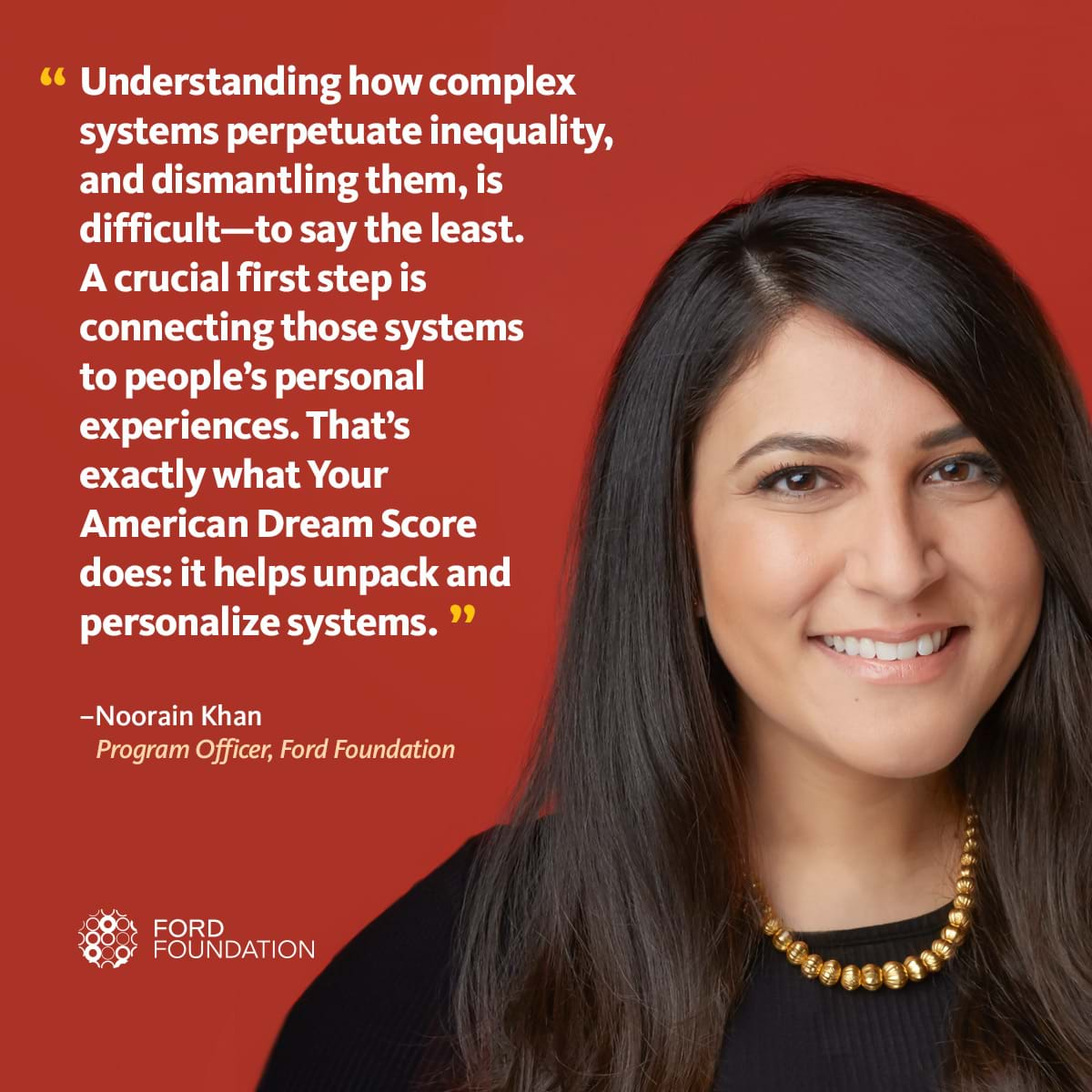 Photo of Noorain Kahn with a quote about her American Dream Score