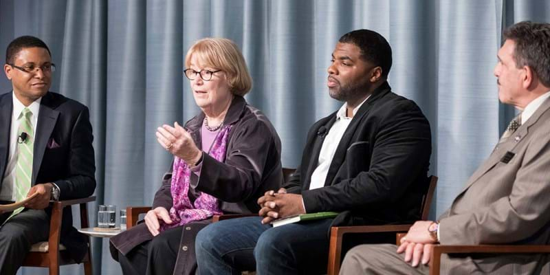 Ford Foundation's Doug Wood, Author Ellen Condliffe Lagemann, BPI Graduate Dorell Smallwood, and New York Department of Corrections Commissioner Anthony Annucci discuss the impact of education in prison