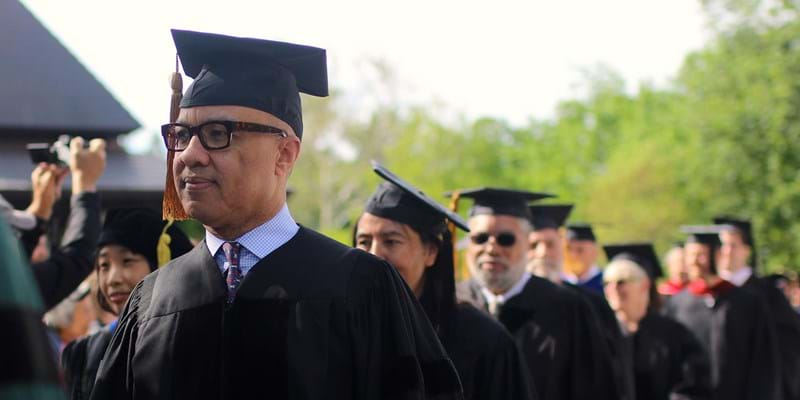 Darren Walker at the 2017 Oberlin College commencement ceremony. Credit: Amber Benford Studios