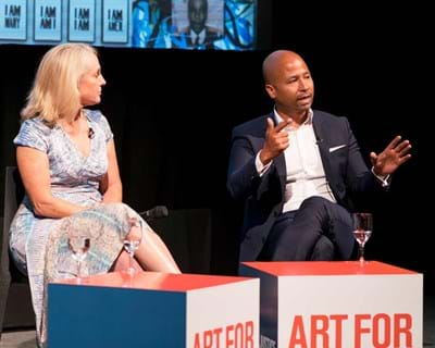 """Charles Blow, Piper Kerman, and Glenn E. Martin discuss criminal justice at """"Art for Justice Fund"""" event. Credit Simon Luethi"""