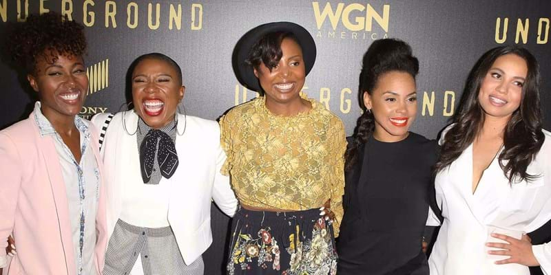 DeWanda Wise, Aisha Hinds, Misha Green, Amirah Vann and Jurnee Smollett-Bell arrive at event. Credit: Michael Tran/FilmMagic