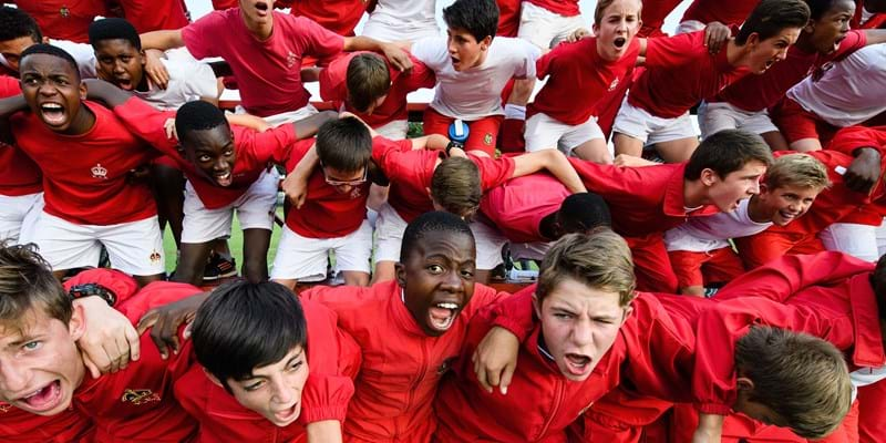 Students at the King Edward VII school take part in the traditional 'War Cry' ahead of an inter-school rugby match on March 29, 2017 in Johannesburg, South Africa. (Photo by Leon Neal/Getty Images)