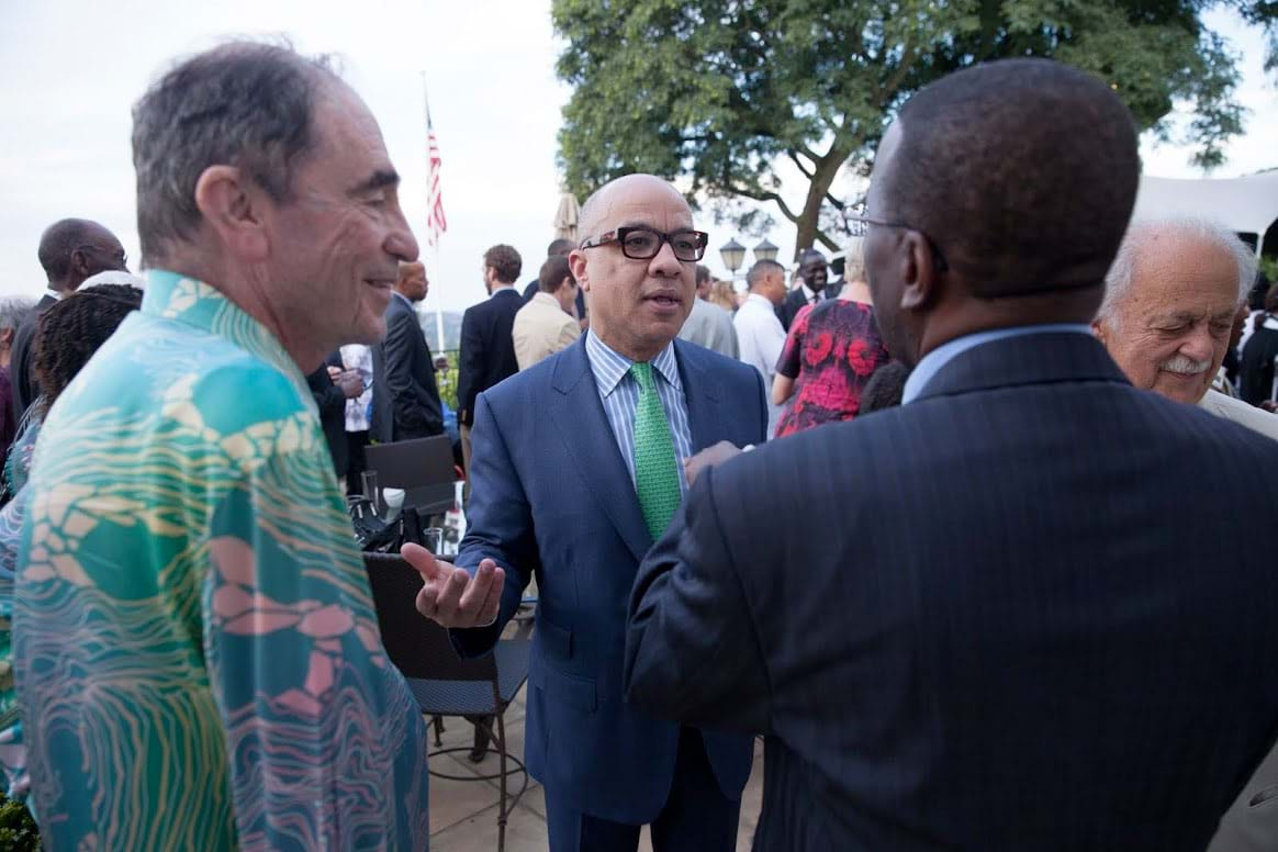 (From left to right) Albie Sachs, founding justice of South Africa's Constitutional Court; Darren Walker, president of the Ford Foundation; Willy Mutunga, chief justice of Kenya; and George Bizos, one of Africa's most prominent human rights lawyers.