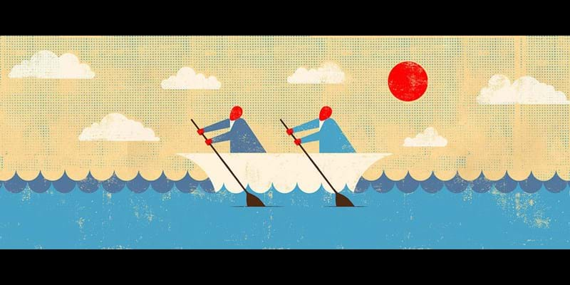 Evocative illustration of people working together to row boat