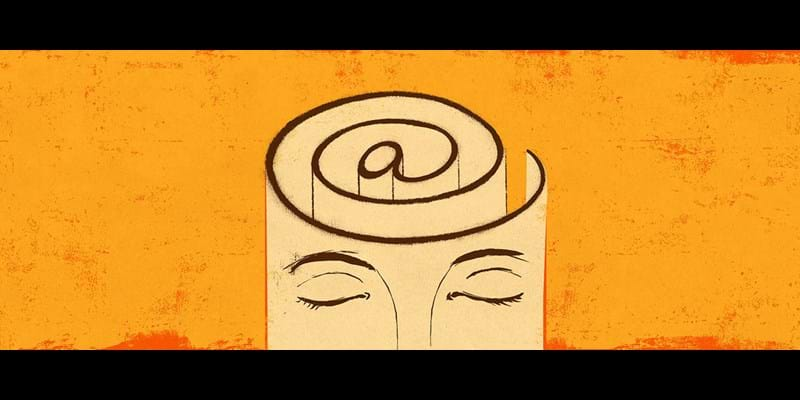 Evocative illustration of face wrapped around @ symbol