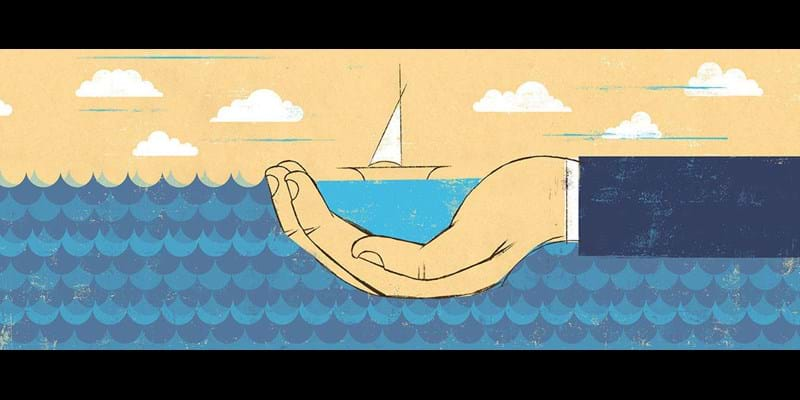 Evocative illustration of hand cradling boat