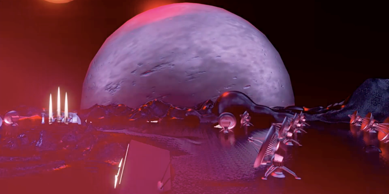 CGI of a moonscape with satellite dishes