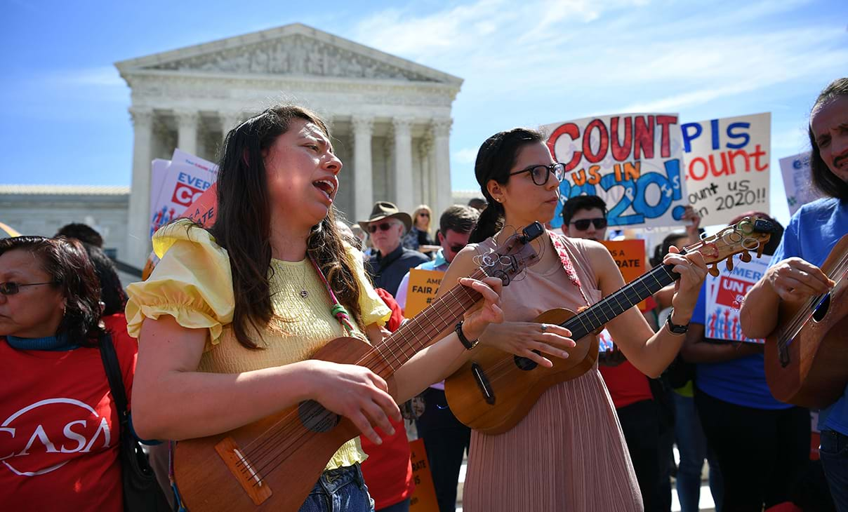 Women protesting the citizenship question in the 2020 census playing charango's outside the US Supreme Court in Washington. DC.