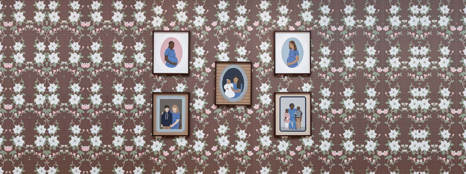 Five framed images hanging on a flower print wall.