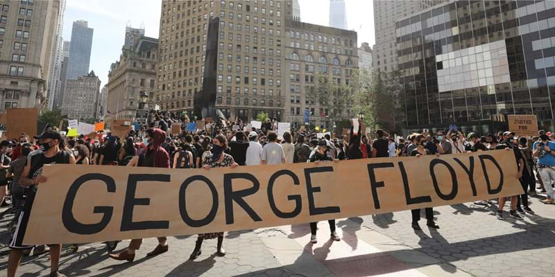 Hundreds of protesters gather in Manhattan's Foley Square on May 29, 2020 to protest the recent death of George Floyd.
