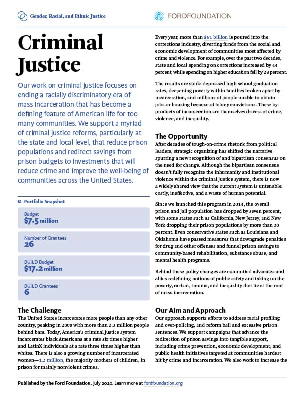 First page of the GREJ - Criminal Justice One-Pager