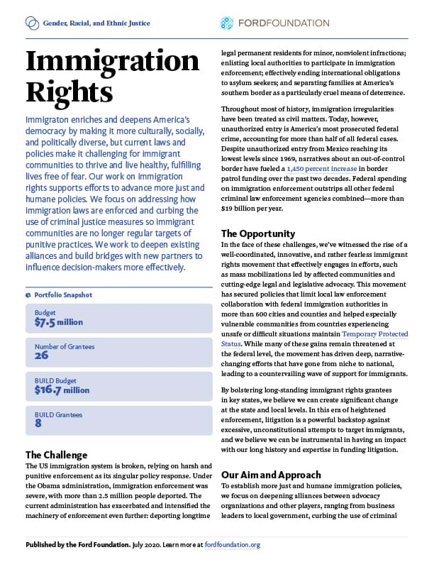 First page of the GREJ - Immigration Rights One-Pager